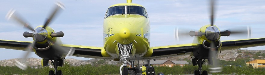 Ambualnsefly: Beech 200 klar for take off